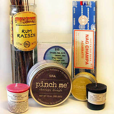Aromatherapy products including incense, candles, and therapy dough
