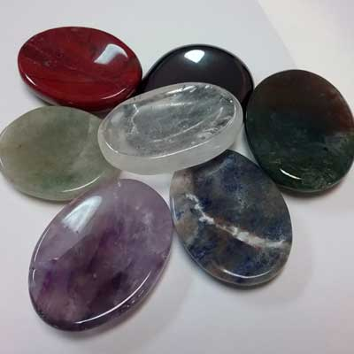 Seeds of Wellness offers worry stones in a variety of gemstones