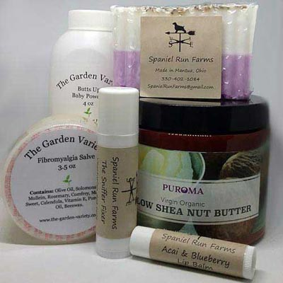 Skincare products including natural items made by local vendors