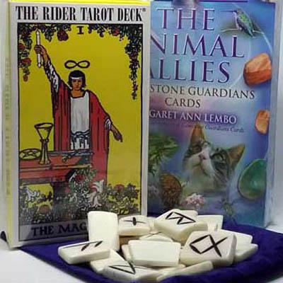 Tarot decks, oracle cards, and runes